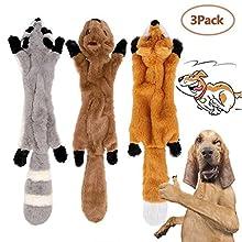 3 Pack Hund Quietschende Kauen Spielzeug Keine Füllung Hund Spielzeug Plüsch Tier Hundespielzeug für Kleine Medium Hund