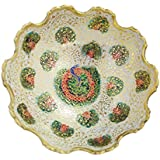 AVS STORE ® Brass Decorative Dry Fruit Bowl Carving Work - Beautiful White Color Peacock Design Kitchenware Gift (9 In)
