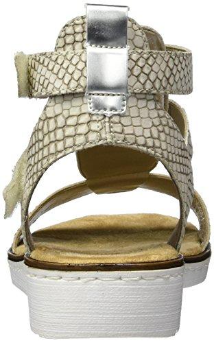 Rieker 63661, Sandales Bout Ouvert Femme Beige (Beige/kiesel/beige/argento / 60)