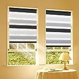 Duo Rollo Doppelrollo Klemmfix für Fenster ohne Bohren Wandmontage mit Klemmträger 80x150cm(BxH) Weiß-Grau-Anthrazit