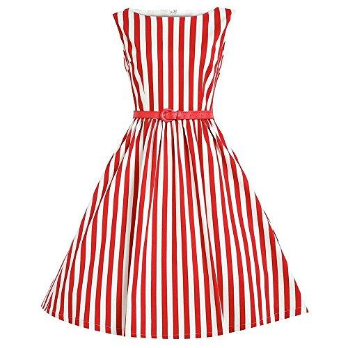 Weiß Gestreiften Kleid Und Kostüm Blau - MisShow Damen Ärmellos Streifen Vintagekleid Rockabilly Swing Knielang Gr.S-2XL