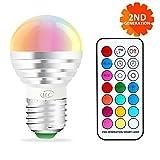 iLC Farbige Leuchtmittel LED RGBW Lampe Dimmbare Farbige Leuchtmitte Lampen 3W E27 RGBW LED Birnen[2017 Zweite Generation] - Dual Memory - 12 Farben - Kabellos Fernbedienung inklusive