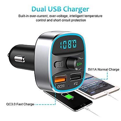 FM-Transmitter-Karcore-Bluetooth-FM-Transmitter-Auto-Radio-Adapter-Dual-USB-Ladegert-QC30-und-5V1A-Freisprecheinrichtung-Untersttzt-TF-Karte-USB-Stick-mit-7-Farben-Umgebungslicht