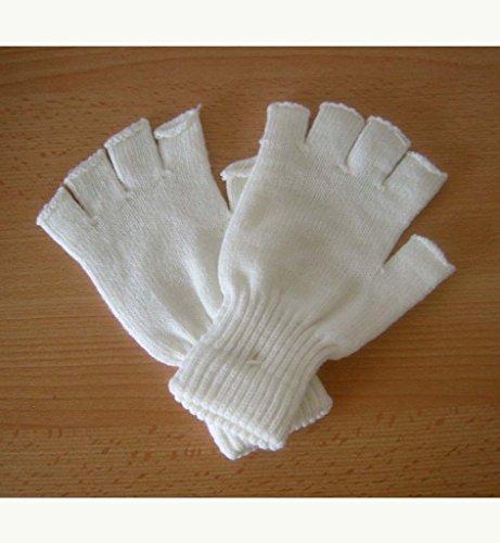 Strickhandschuhe, schnee-weiß, Halbfinger, ohne Finger, Handschuhe, für (Tanz Tippen Kostüme)