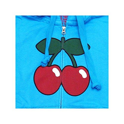 Pacha: Felpa con cappuccio e zip Uomo con Ciliegia Basic Logo Turchese