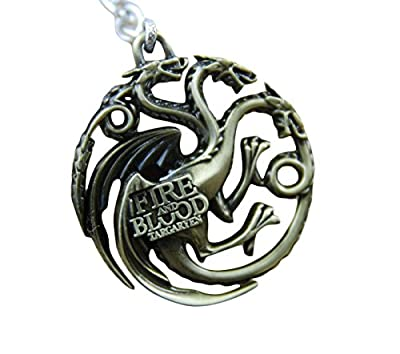 Game of Thrones Metal Cut Out Keyring Key chain House Targaryen Fire and Blood