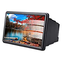 Screen Enlarger,Magnifier for Phone,Screen Magnifier Smartphone , 12 inch HD Screen Magnifier Mobile Phone 3D Video Movie Amplifier with Retractable Folding Structure (Black)