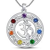 Vorra Fashion Damen OM Chakra Anhänger Unendlichkeitssymbol 925 Sterling Silber platiniert