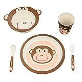 BambooFox Kindergeschirr set - Buntes Bambus Geschirr und Besteck Set mit Motiven - 100% Bio Bambus - umweltfreundlich (Affe)