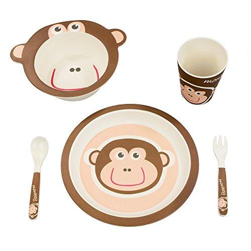BambooFox Kindergeschirr set - Buntes Bambus Geschirr und Besteck Set mit Motiven - 100% Bio Bambus - umweltfreundlich (Affe) (Teller Fox)