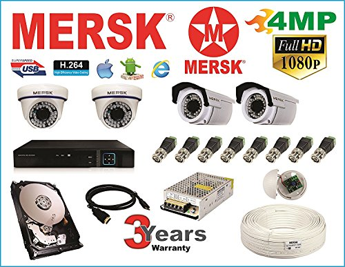Mersk Exclusive 4 Ch Dvr & Mersk Full HD (4MP) CCTV Camera Kit with (All Required Accessories) Note : No Installation Service
