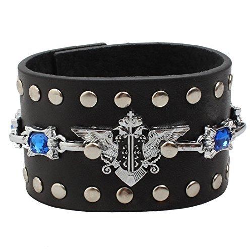Ultra Gothic Design mit Blue Stone Leder Gothic Steampunk Stil Armband Handgelenk Manschette Armbänder Gothic Goth emo Cyber Vintage Stil Biker Rock Adult Teens