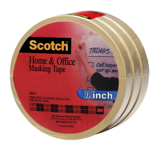 Scotch(R) Home and Office Masking Tape 3436-3, 3/4-inch x 60 Yards, 3 Pack by Scotch