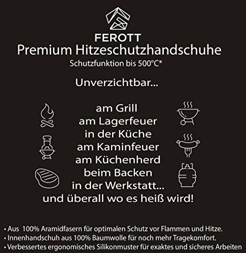 517gkp0J7rL - Original FEROTT BBQ Grillhandschuhe in Profi Qualität mit Zertifikat / Feuerfest und hitzebeständig bis 500°C / Schutzhandschuh für Mann und Frau / Topfhandschuhe / Grill Zubehör für Kohlegrill / Gasgrill / Smoker