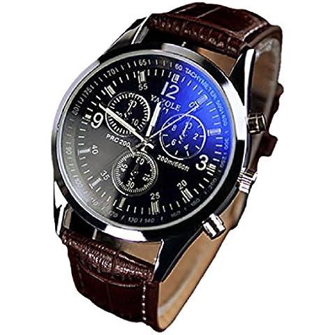 RETUROM Para hombre de lujo de la manera de cuero de imitación Blue Ray cristal de cuarzo relojes