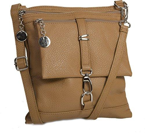 Big Handbag Shop Borsa a tracolla Messenger tipo cross-over in autentico Pelle Italiana 24x26x3 cm (LxAxP) Light Tan