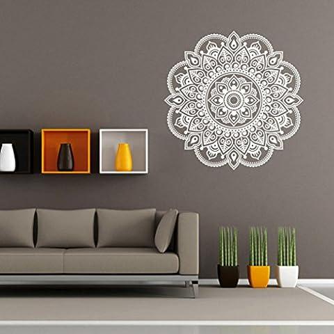 Wandaufkleber Wandtattoo Wandsticker ,Mandala Muster Wand Aufkleber, KIMODO Mandala Blume Indische Schlafzimmer Wohnzimmer Wandaufkleber Aufkleber Kunst Mural Home (Weiß)