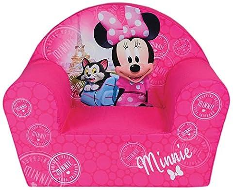 Fun House Disney Minnie Paris Fauteuil en mousse pour Enfant, Housse Polyester/Mousse Polyether, 52 x 33 x 42 cm
