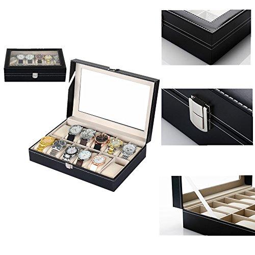Uten Uhrenkoffer Uhrenbox Schaukasten Uhrenkasten Uhrenvitrine für 12 Uhren aus kunstleather