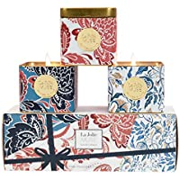 La Jolíe Muse Bougies Noël Coffret Cadeau Bougies Parfumées Jasmin Citron Melon Pomme Lot de 3 en Cire Bio pour Fête 115 Heures 3 * 110g