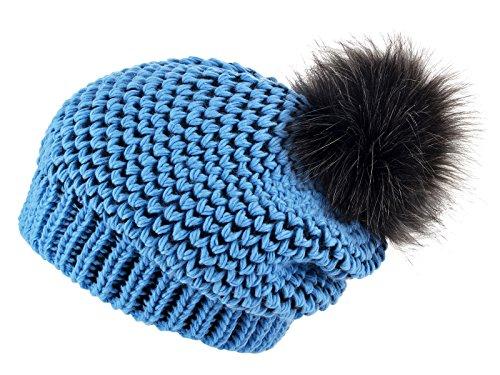 n Mütze Slouch Beanie Oversize (Hellblau - Schwarz Mit Grau) (Hellblau Und Schwarz)