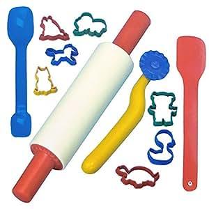 LADO 16pc Baking Set Rolling Pin Shape Cutters Kitchen Play Set For Children Kids