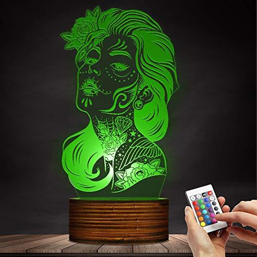 (16 Farbwechsel Nachtlicht Mädchen Zucker Schädel LED Tischlampe 3D Optische Illusion Lampen mit Acryl Flat & Holz Base & USB Kabel)