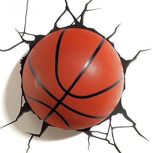 JU FU -Lichtbefestigung 3D kreative Wandleuchte, moderne Basketball Modellierung Wohnzimmer Schlafzimmer LED dekorative Lichter, Boy Geschenk Nachttisch Nachtlicht Größe: 44x38cm @