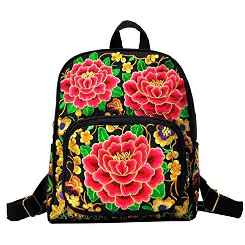 YAANCUN Zaino Ragazze Donna Ricamo Tela Zaino Scuola Borsa Backpack Zainetto Turismo Zaino Come l'immagine#1