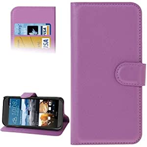 Litchi Texture Flip Leather Case with Holder & Card Slots & Wallet for HTC One M9 (Purple)