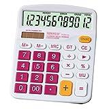 Meliya calculadora de sobremesa estándar funcional oficina calculadora calculadora electrónica (funciona con pilas con pantalla grande de 12dígitos, color rosa