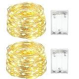 LED Lichterkette Batterie, 2 x 4M Lichterkette Weihnacht 40 LEDs, Kupferdraht Lichterkette für Außen und Innen Wasserdichte Weihnachtsdeko, Partys, Hochzeit(Warmweiß)