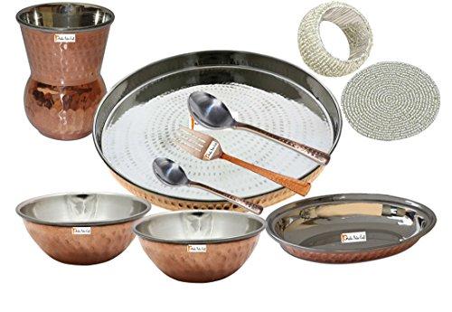 Prisha India artigianato indiano ® posateria in acciaio Thali rame Set 13 Dia