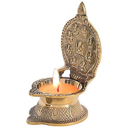 Jaipuri haat Nine Avatar Goddess Laxmi Diya in Antique Brass Oil Lamp For Puja Home Décor