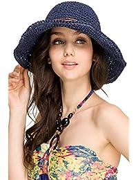 Plage de soleil pliable bord large chapeau féminines chapeau de paille