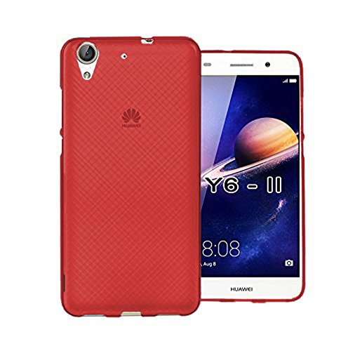 Tboc custodia gel tpu rossa per huawei y6ii - y6 2 (5.5 pollici) in silicone ultra sottile e flessibile (non è compatibile con huawei y6ii compact 5.0 pollici)