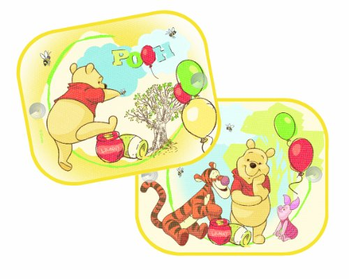 Joy Toy 30018 - Winnie the Puuh und Freunde beim Spiel Sonnenschutz für Auto Paar, einfache Anbringung mit Saugnapf, 36 x 45 cm