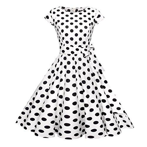 50er Vintage Kleider, Loveso ❤️ Damen Vintage Polka Dots A-linie Ohne Arm Rockabilly Kleid Cocktailkleider Swing Kleider 1950er Retro Sommerkleid (Weiß❤️, L) Kleidung Von 1950