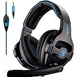 Sades SA810 Auriculares estéreo Gaming para PS4,Xbox One,Auriculares Profesionales de 3,5 mm de Diadema con micrófono y Control de Volumen, Bajos envolventes,Orejeras Suaves con Memoria(Negro y azu)