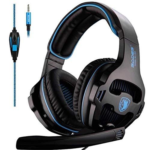Sades SA810 PS4 Xbox One Auricolare su Orecchio Stereo Gaming Cuffia di Gioco Basso con Microfono di Isolamento Acustico (Nero & Blu)