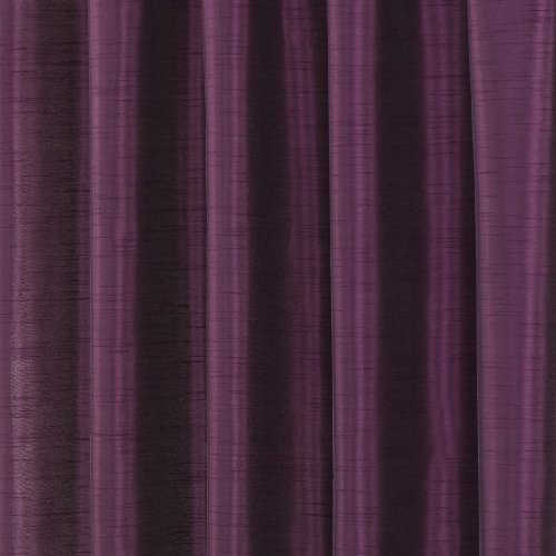 Luxury Faux Silk Slubbed Aubergine Fully Lined Readymade Curtain Pair 66x72in(167x182cm) Including One Pair Of Co-Ordinating Tiebacks.