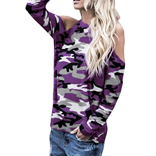 BHYDRY Frauen Schulterfrei Camouflage Langarm Bluse Tops T-Shirt(M.Lila)