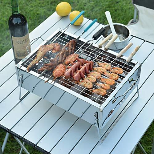 Dicker Edelstahlgrill, für Outdoor Kochen Camping Wandern Picknicks Garten Reisen Camping Klapp Grill (1-2 Personen), Holzkohlegrill