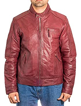 Hombre de Borgo–a cuero sin cuello Verano Zipped Biker chaqueta con detalles perforados