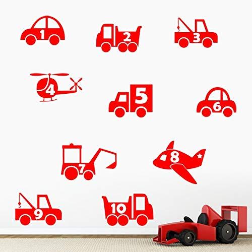 Garçons chiffres véhicules, voiture, Pelleteuse, avion Stickers muraux – Coupe & Place 10 individuels Stickers muraux – Art Stickers en vinyle, pour chambre d'enfant, facile à appliquer, sans applicateur, facile – enlever (Veuillez Choisir votre taille et couleur grâce à la sélection Boîtes) – par Rubybloom Designs, Rouge, Small - 58cm x 58cm