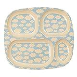 Kinder 4fach Teller aus Melamin mit Fluffy Cloud Design–100Prozent Melamin–Frei von bisophenol-a oder phtaletes von Rice DK