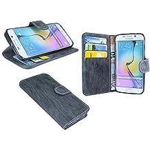 Samsung Galaxy S6 EDGE+ G928F Funda Libro , tipo cartera estilo libro con función soporte vertical color antracita @ energmix