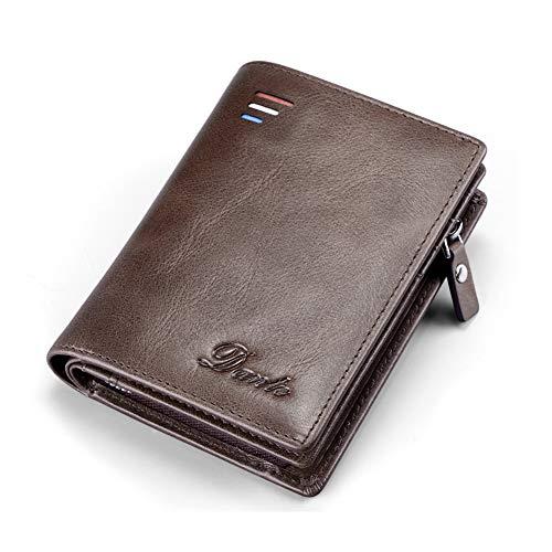 FRYP Business Mu00e4nner Brieftasche Vintage Brown Rindsleder Mu00e4nner Clutch Bag 100% Echtes Leder Clutch Handtasche Doppel Reiu00dfverschluss Geldbu00f6rse fu00fcr Mu00e4nner -