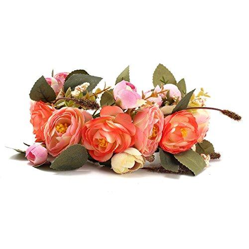 Hochzeit Haar-Accessoires DIY Künstliche Blumen Girlande für Braut Hochzeit Stirnband Orange (Haar-accessoires Seidenblumen)