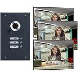 3-Familienhaus Video-Türsprechanlage mit Kamera, Monitor spiegel (Frontblende in Edelstahl RAL 7016 Anthrazit)
